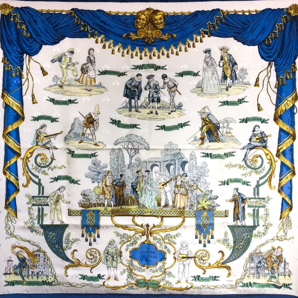 Hermes Jacquard Silk Scarf La Comedie Italienne Rare Collector s Scarf 8b65cf80398