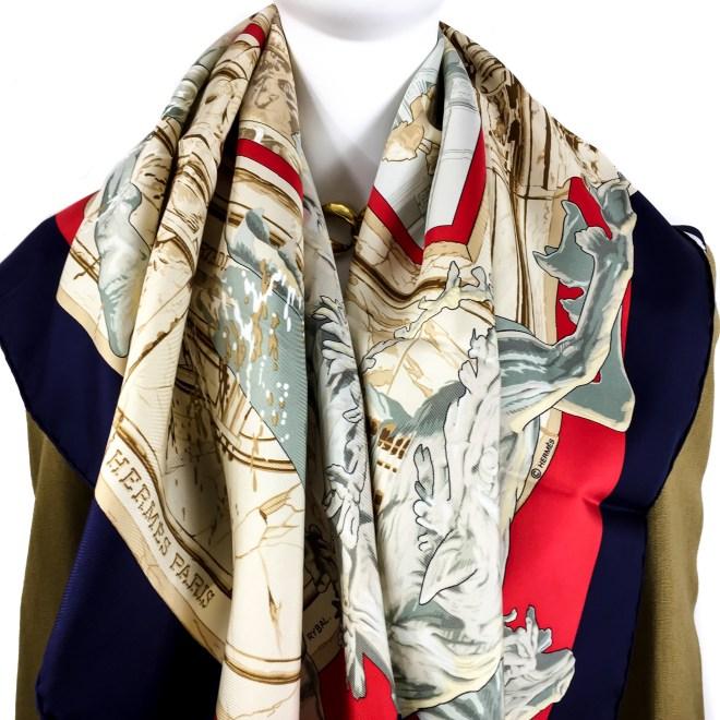 Hermes Silk Scarf La Fontaine de Bartholdi-10