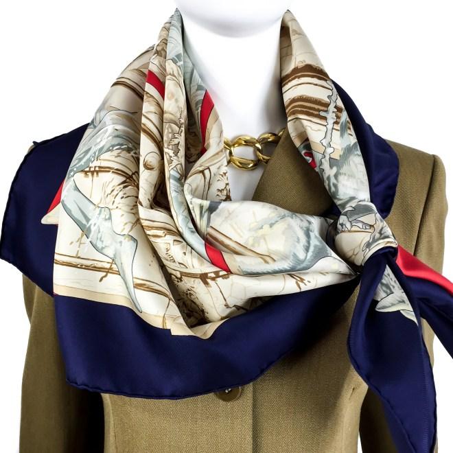Hermes Silk Scarf La Fontaine de Bartholdi-12