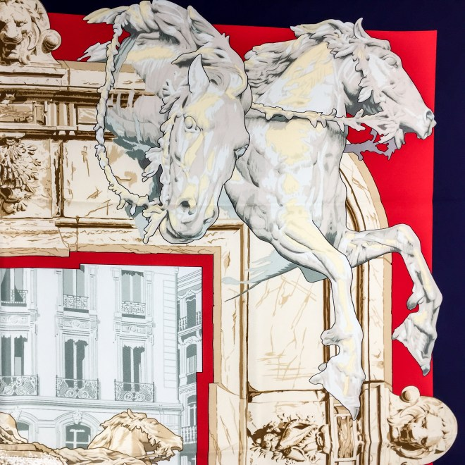 Hermes Silk Scarf La Fontaine de Bartholdi-5