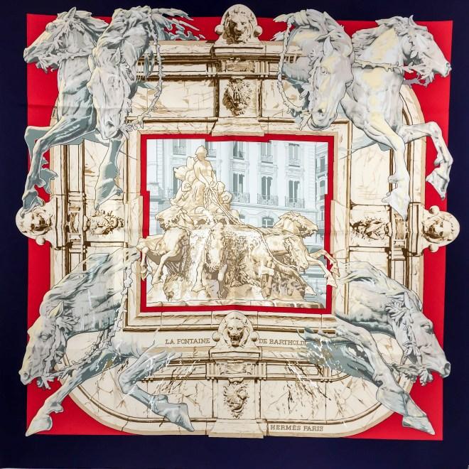Hermes Silk Scarf La Fontaine de Bartholdi