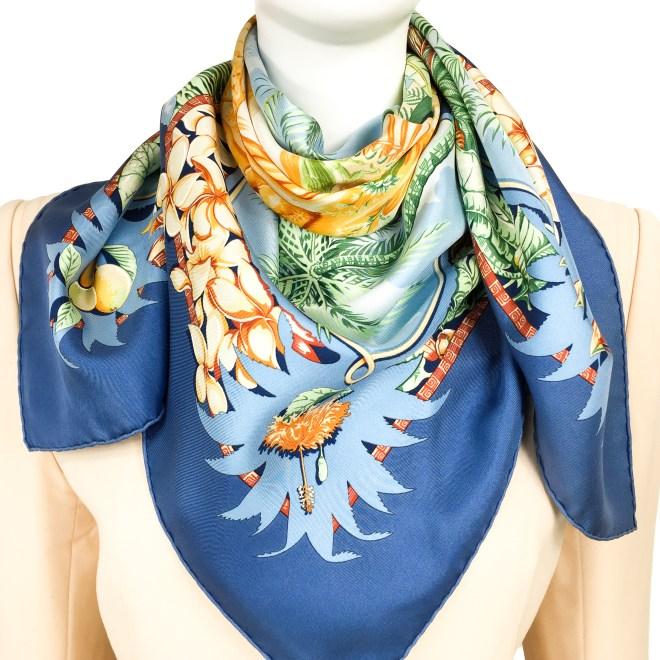 Hermes Silk Scarf Aloha Blue-10