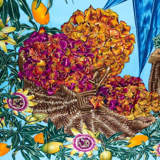 Hermes Silk Scarf Passiflores Turquoise UNWORN-2