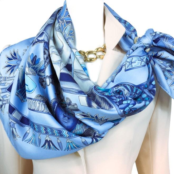Hermes Silk Scarf Tresors du Nil Blue-9
