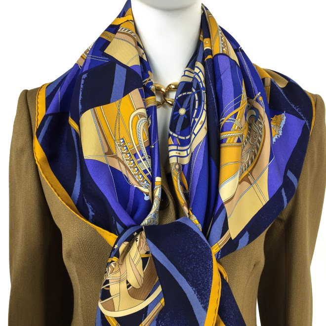 Hermes Silk Scarf Face au Large Blue-14