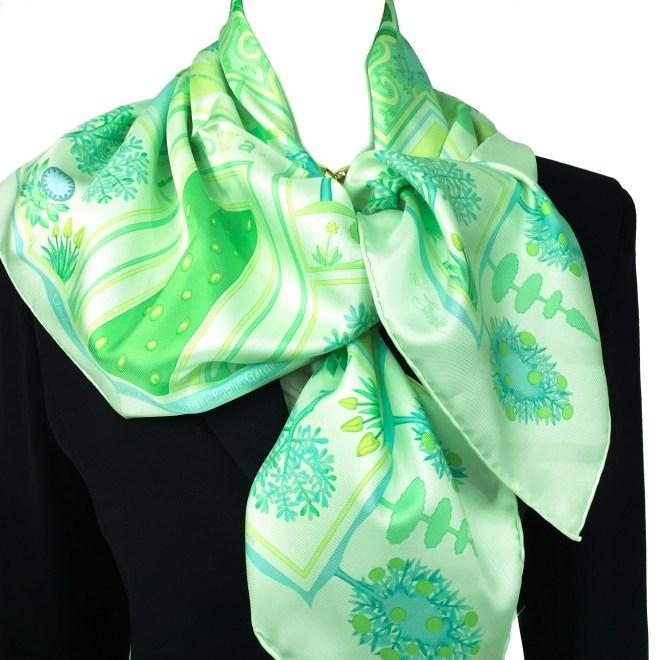 Hermes Silk Scarf Paridaiza Green-11