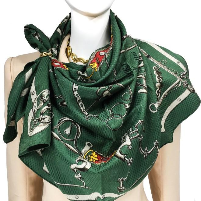 Hermes Silk Jacquard Scarf Mors et Gourmettes RARE-8