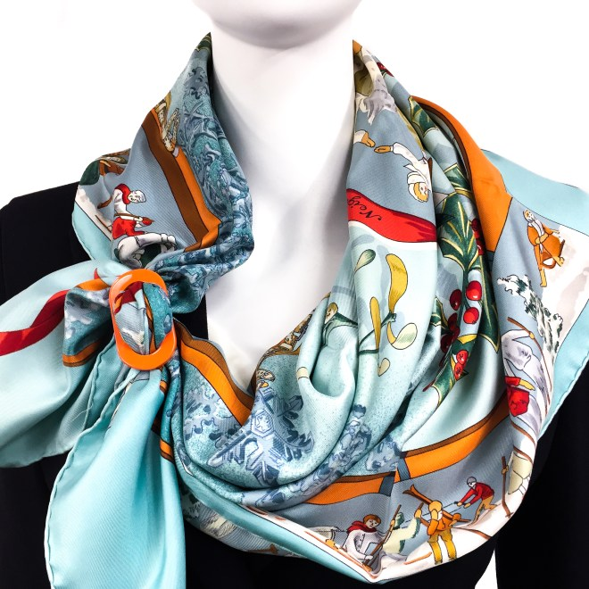 MOYENNE LUXE REVERSIBLE HORN SCARF RING OR PENDANT with HERMES Neige d'Antan Scarf