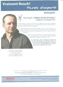 Paul Feugier carreleur dans le Magazine parôle d'expert de Bosch Outillage
