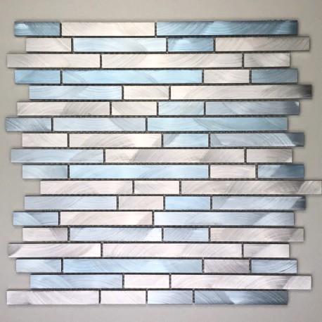 mosaique aluminium mur fond de hotte blend bleu carrelage inox fr