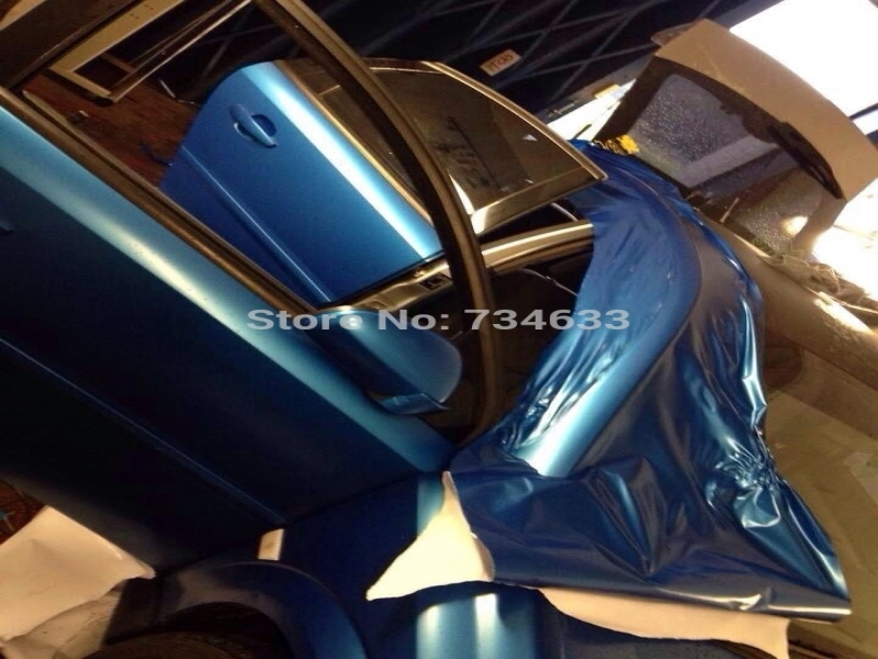 CES 2016 Car Audio Pearl Blue Matte Vinyl Wrap Air Release Electric Blue Matt Pearl