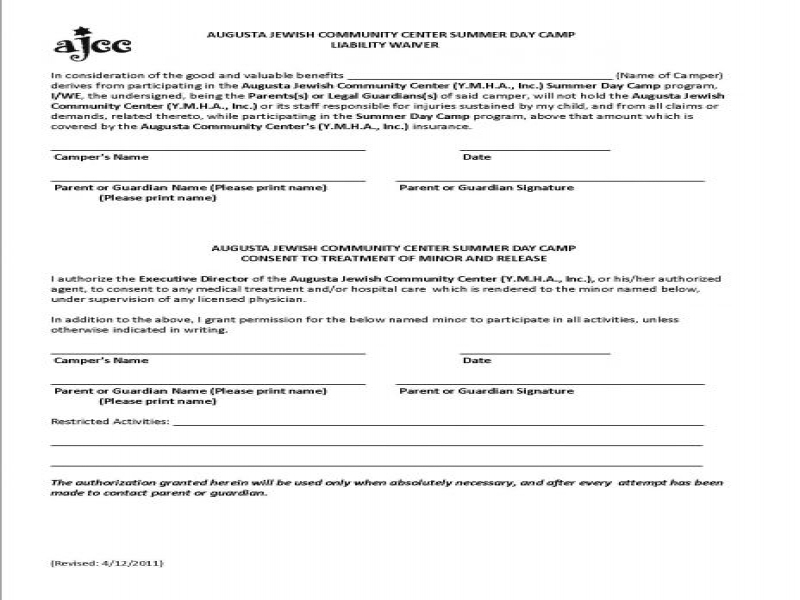 Printable Release Of Liability Form Generic Liability Waiver General Liability Form Car Insurance