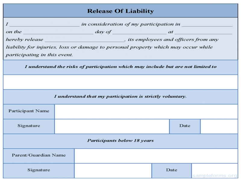 Release Of Liability Form Best Photos Of Release From Liability Form Work Liability