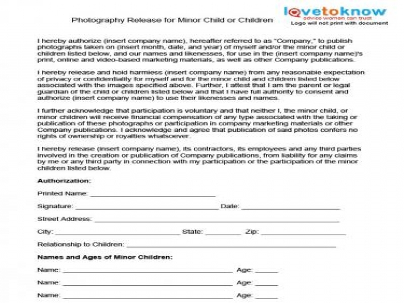 Release Of Liability Form Free Photography Release Forms