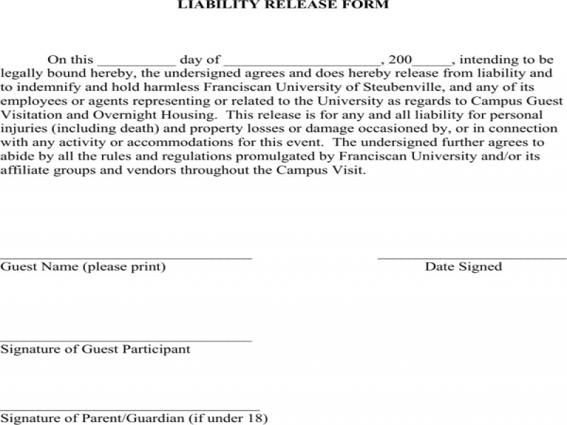 Release Of Liability Form Minnesota Liability Release Form For Excel Pdf And Word