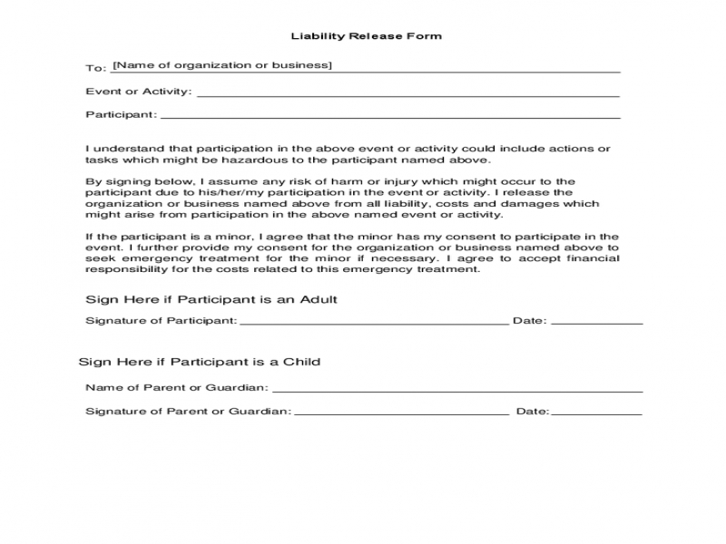 Release Of Liability Forms Liability Release Form For Events Hashdoc