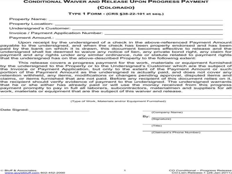 Release Of Liability Sample Colorado Lien Release Form For Excel Pdf And Word