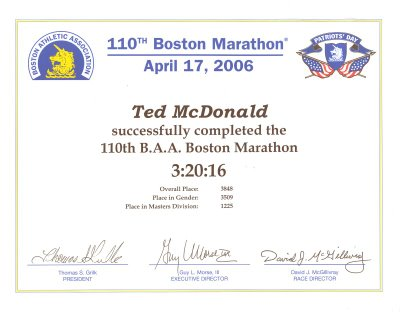 Barefoot Ted en Maraton Boston 2006