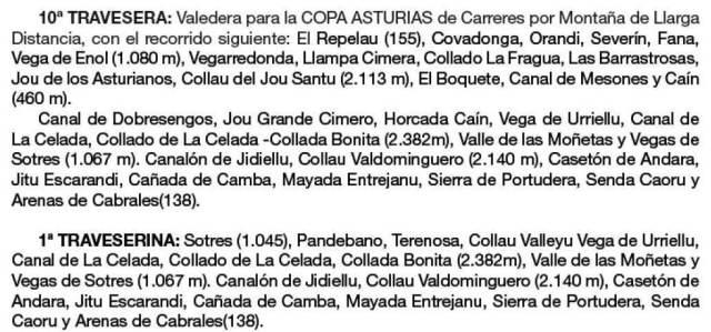 Travesera Picos Europa 2013 Detalle recorrido