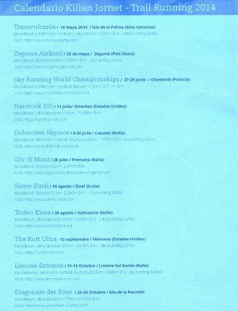 Kilian Jornet: Calendario trail running 2014