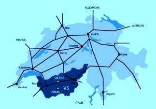 Sierre Zinal: Mapa de situación dentro del Valais y de Suiza.