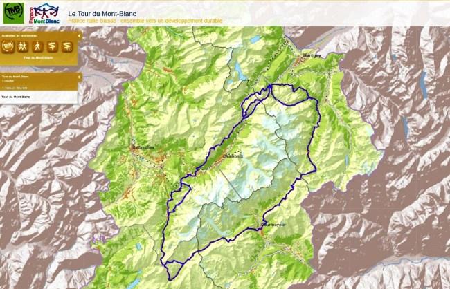 Tour del Mont Blanc mapa oficial 200km 2014