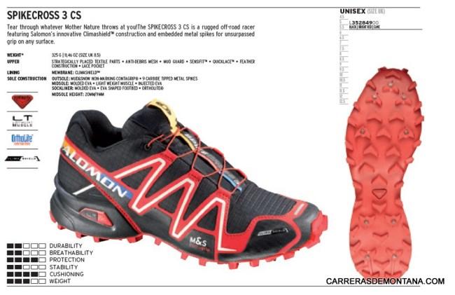 Zapatillas Salomon Spikecross3 CS. Ficha técnica oficial