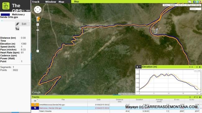 Comparación de dos tracks para la misma rura realizados con Fenix3 (trazo azul) y Ambit3. La zona representada es el área de cimas de Bola del Mundo y Maliciosa (Sierra de Guadarrama). Obsérvese la similitud entre ambos tracks. En el recuadro inferior se observa un diagrama distancia-altitud: nótese la menor distancia registrada por Fenix3 para la misma ruta.Se ha utilizado la aplicación web MyGPSfiles.com para la presentación conjunta de los datos.