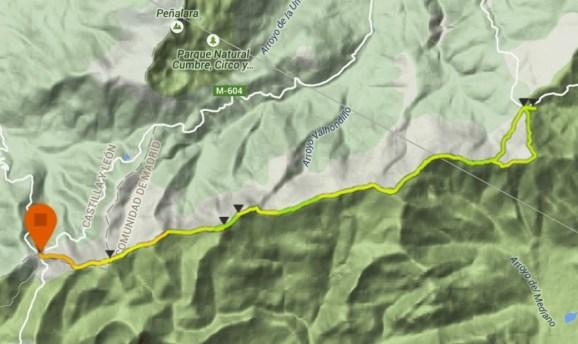 Cuerda Larga doble: Mapa ida/vuelta del circuito. por Mayayo. (Datos Suunto Ambit3 peak)