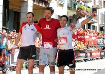 Equipación Salomon Slab variada en triplete podio UTMB 2014
