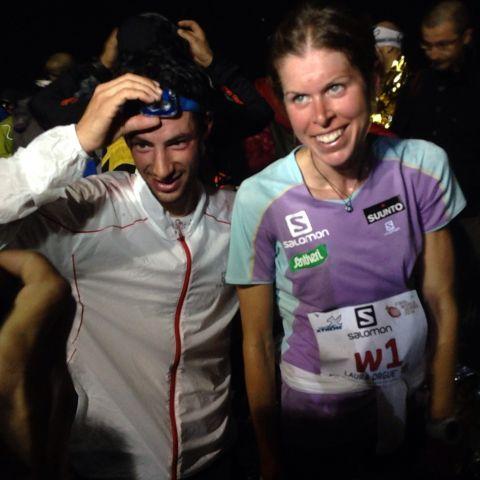 Kilian Jornet y Laura Orgué campeones del mundo KV 2014 en Limone. foto salomon running