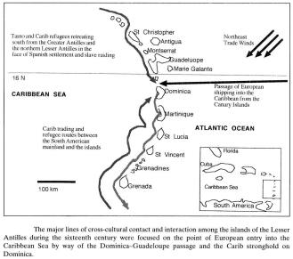 Map of the searoutes on Dominica and the Carib stronghold.