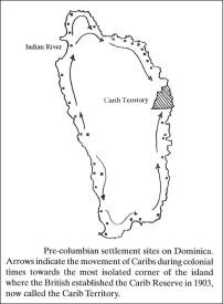 Historic Caribbean map of Carib strongholds on Dominica.