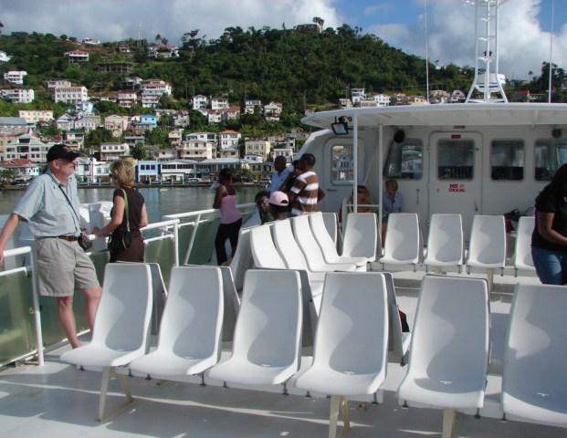 Seats on the Osprey Ferry deck.