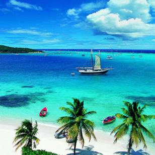 Sailboats in the Tobago Cays.