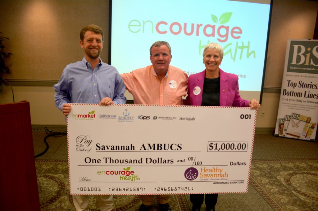 (LEFT TO RIGHT) Matt Clements, enmarket; Kevin Sheehan, AMBUCS; Paula Kreissler, Healthy Savannah