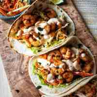 Easy Prawn Tacos with Red Pepper Slaw