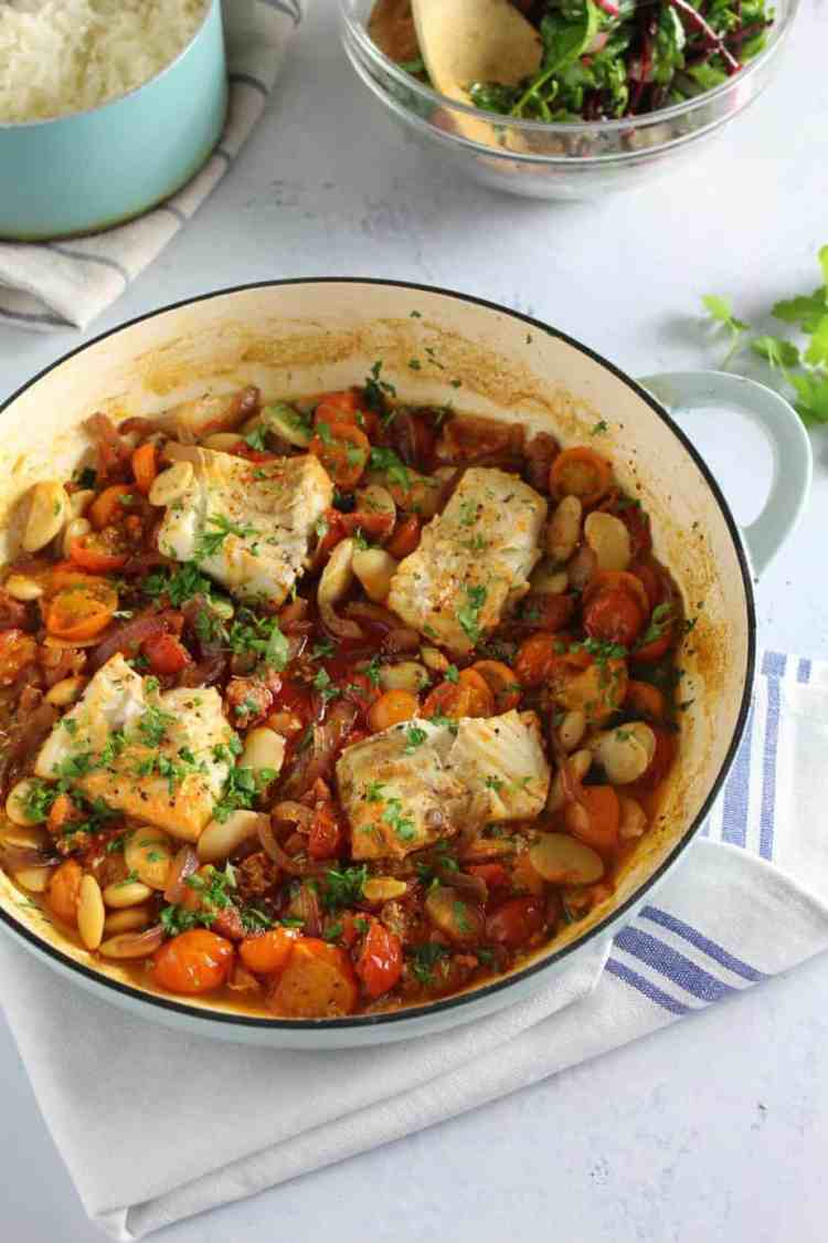 This Cod and Chorizo bake with Tomato and Butter Beans is perfect any night of the week. Easy to prepare, healthy and full of flavour.