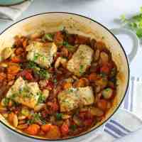 Cod and Chorizo Traybake with Tomato and Butter Beans