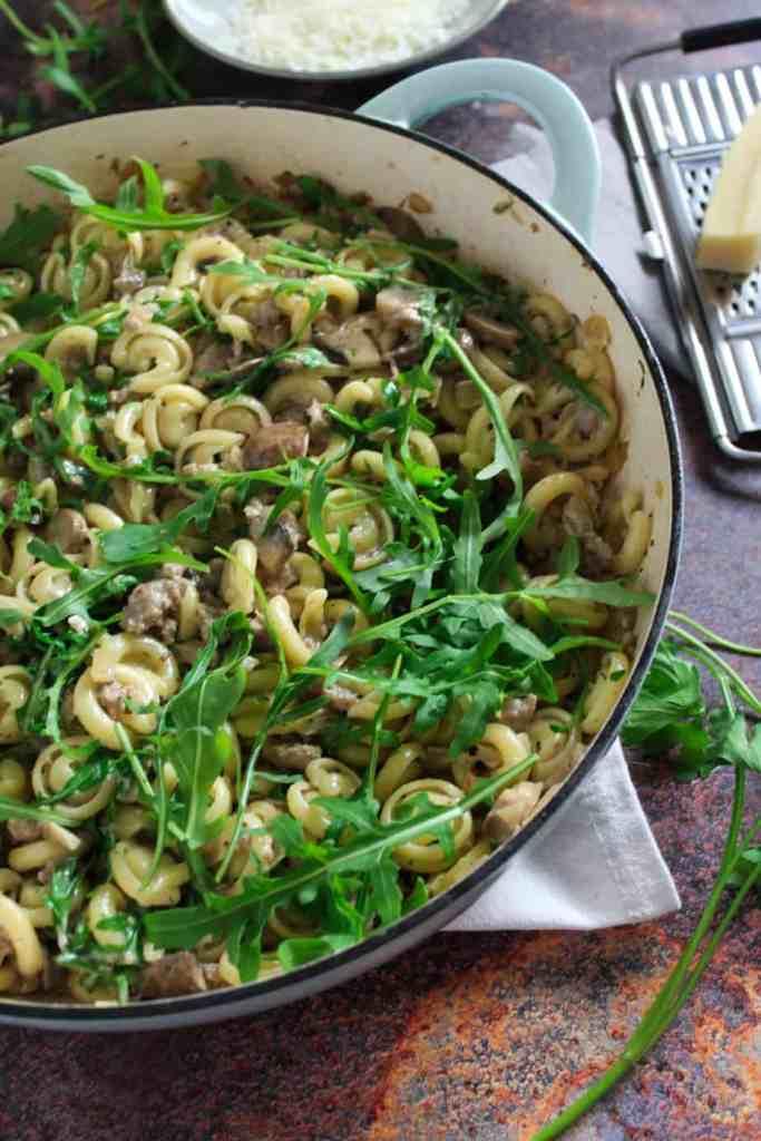sausage mushroom pasta with rocket