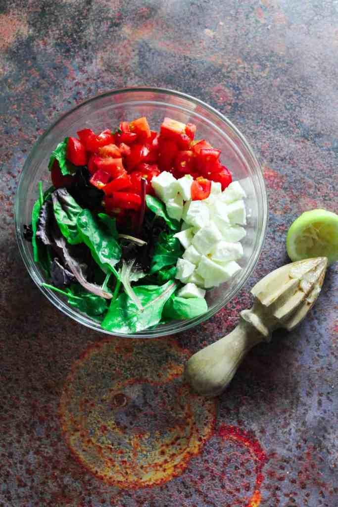 tomato, mozzarella and lettuce
