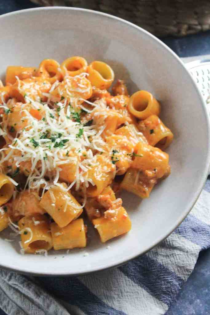 Close up of vodka pasta with sausage