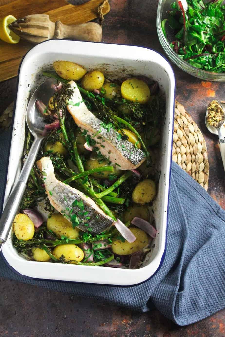 Salmon, Potato and Broccoli Traybake with Wholegrain Mustard