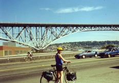 23 Aug 1999 Cycling new bike and panniers from Greenlake to Moore Hotel, Seattle