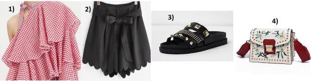Red-Blouse-Black-Shorts-Studs-Studded-Adiletten
