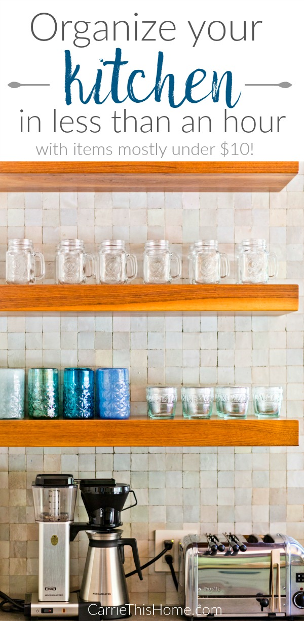 Get your kitchen oraganized in just an hour with these low-cost items that will make a HUGE difference! How to organize your kitchen in an hour by CarrieThisHome.com