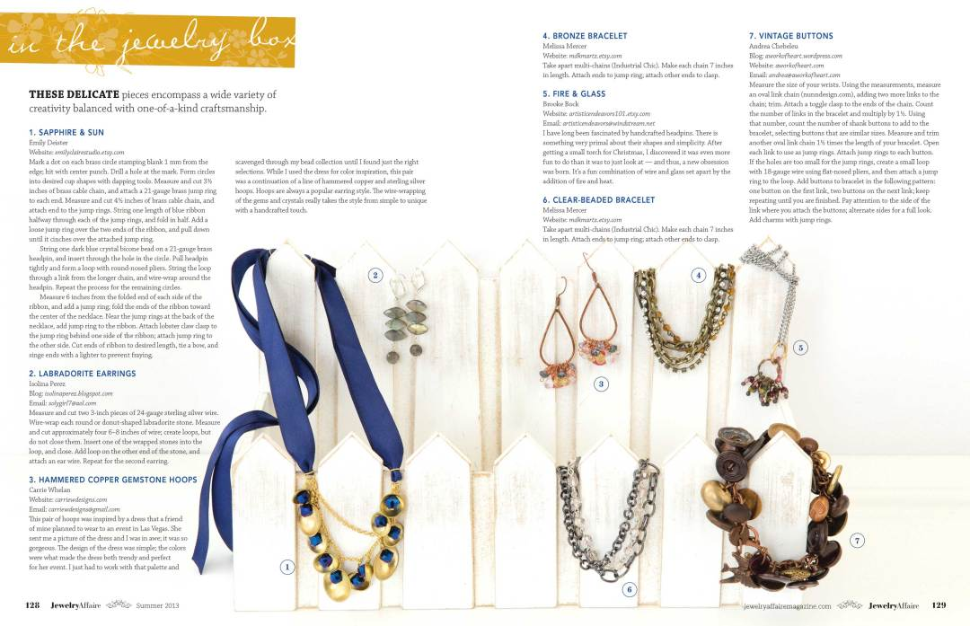 Carrie Whelan Designs featured in artisan magazine Jewelry Affaire, Summer 2013