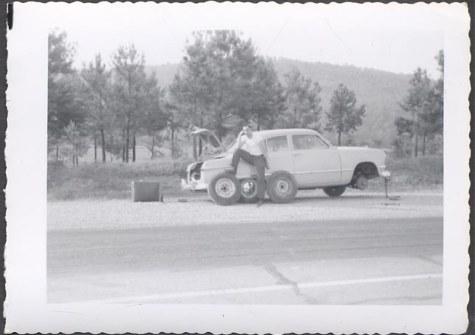Vintage Car Photo Man w_ 1950 Ford Roadside Tire Repair 706248 | eBay