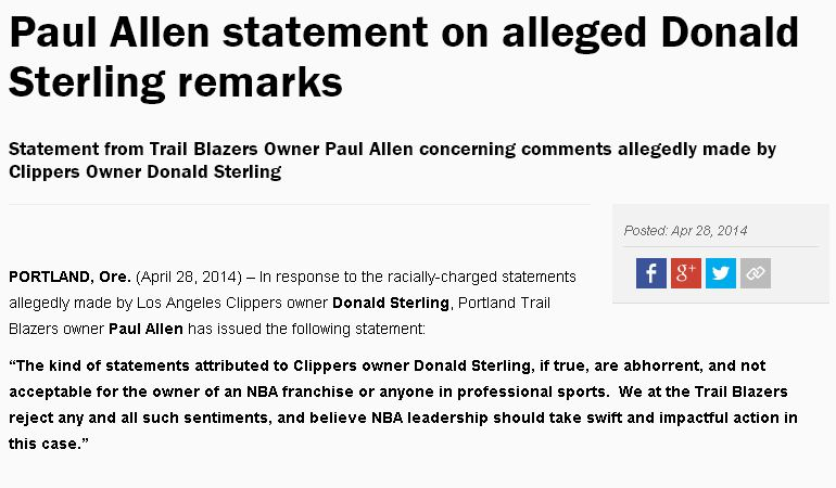 Paul Allen statement