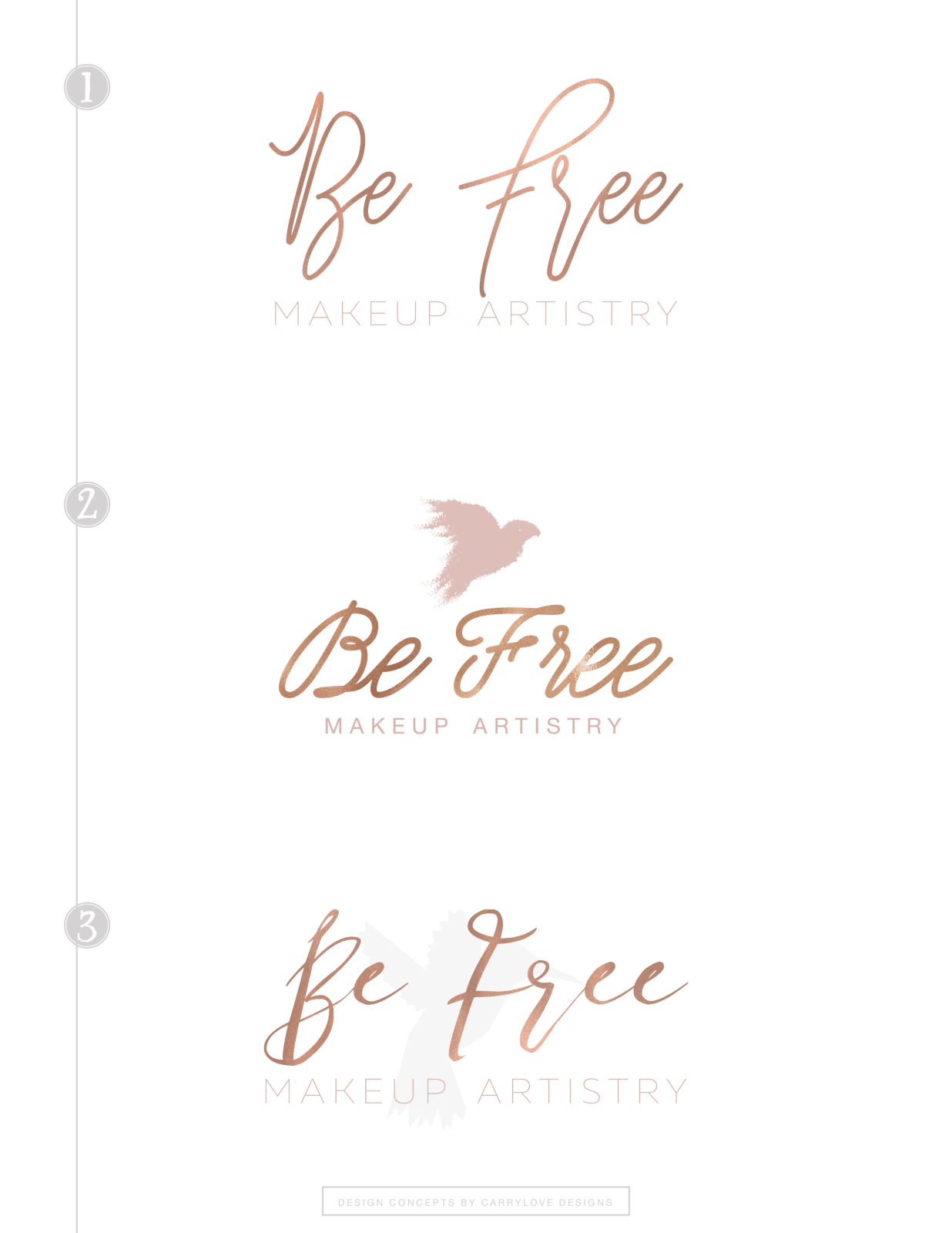 Be Free Makeup Artistry Logo Concepts from Carrylove Designs